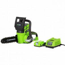 Аккумуляторная цепная пила GreenWorks G24CS25K2 (c АКБ и ЗУ) 2000007VA